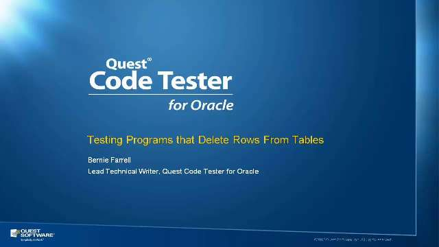Test the Deletion of Rows from Tables with Code Tester for Oracle