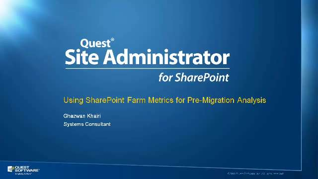 Using SharePoint Farm Metrics for Pre-Migration Analysis