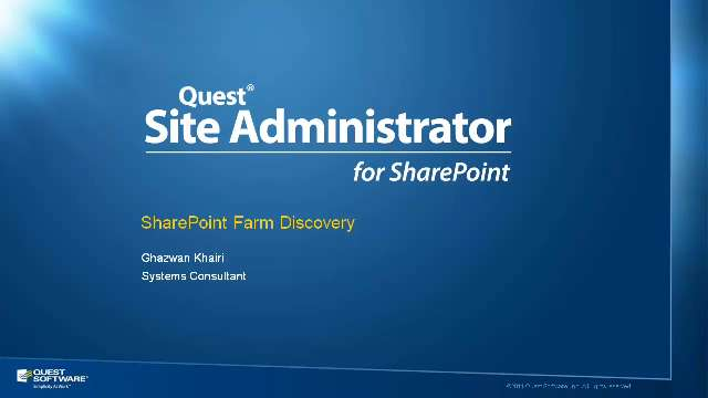 Perform SharePoint Farm Discoveries with Site Administrator for SharePoint