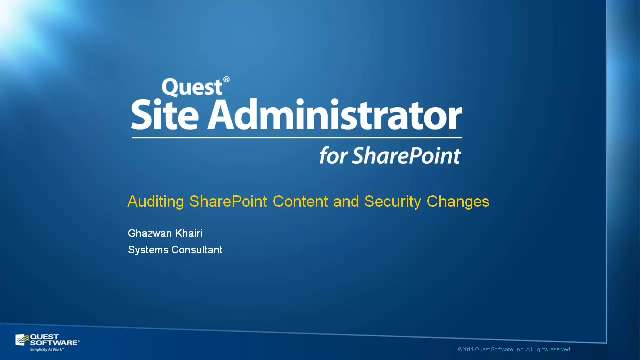 Audit SharePoint Content and Security Changes with Site Administrator for SharePoint