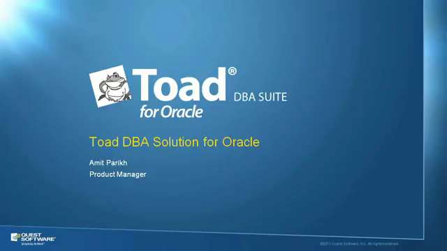 Toad DBA Suite for Oracle Product Overview