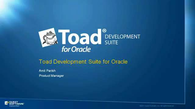 Toad Development Suite for Oracle Product Overview