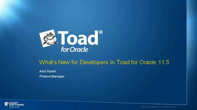 What's New for Developers in Toad for Oracle 11.5