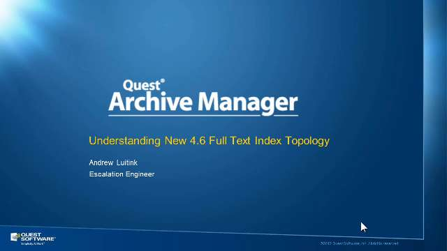Introduction to Archive Manager's Full Text Index Topology