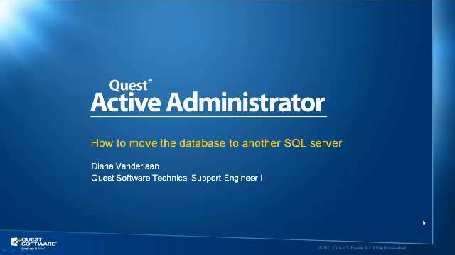 How to Move an Active Administrator Database