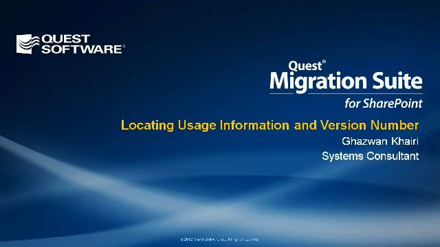 Locating Usage Information and Version Number in Migration Suite for SharePoint