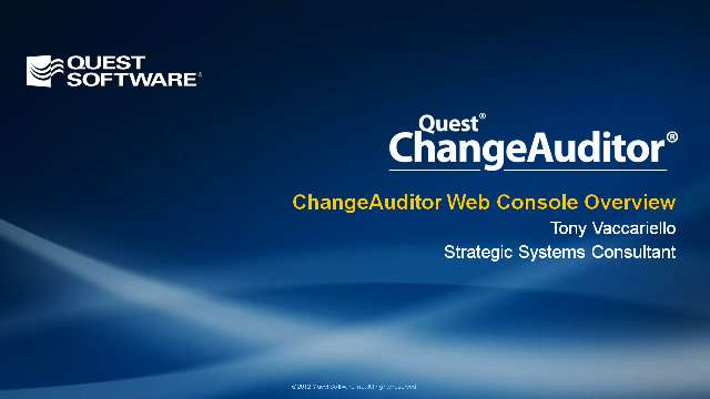 ChangeAuditor Web Console Overview