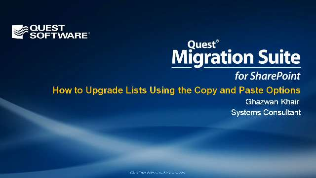 How to Upgrade Lists Using the Copy and Paste Options in Migration Suite for SharePoint