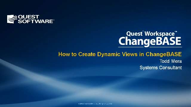 How to Create Dynamic Views in ChangeBASE