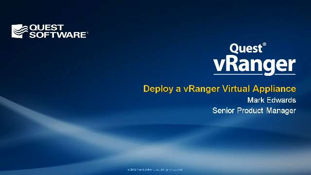 Deploy a vRanger Virtual Appliance