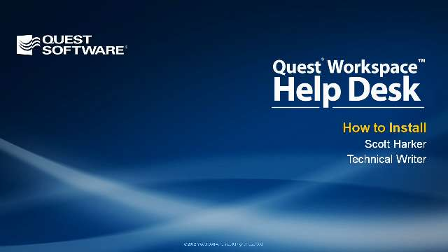 How to Install Quest Workspace Help Desk