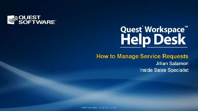 How to Manage Service Requests with Quest Workspace Help Desk