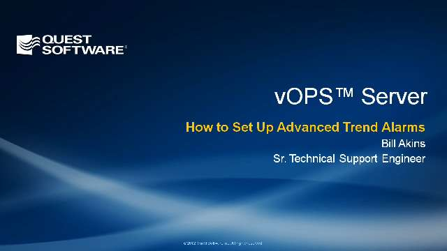 How to Set Up Advanced Trend Alarms in vOPS Server Standard