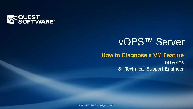 How to Diagnose a VM Feature with vOPS Server Standard