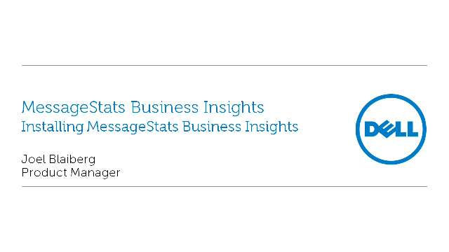 Installing MessageStats Business Insights