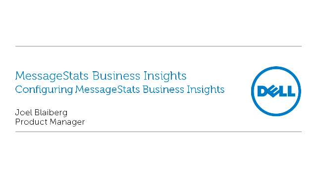 Configuring MessageStats Business Insights