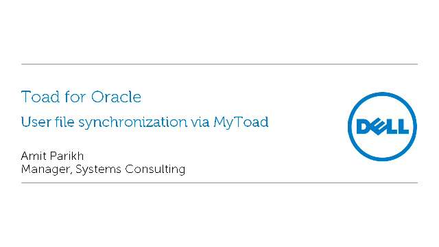 User File Synchronization via MyToad for Toad for Oracle