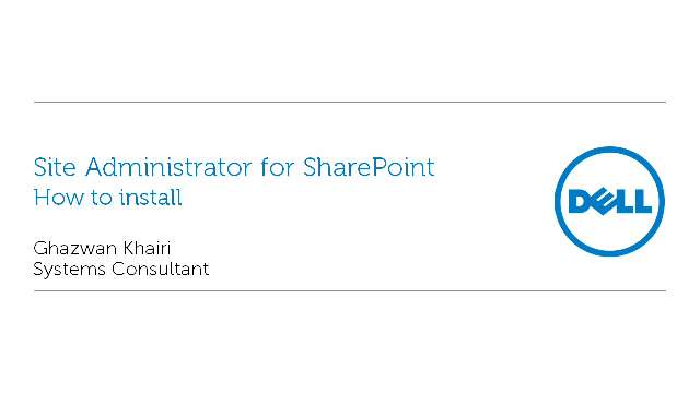 How to install Site Administrator for SharePoint