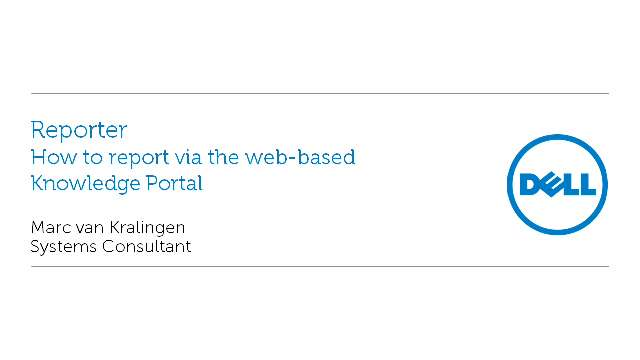 How to report via the web-based Knowledge Portal with Reporter