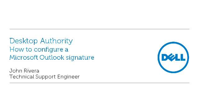 How to configure a Microsoft Outlook signature with Desktop Authority