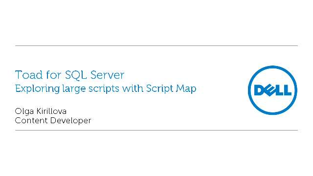 Exploring large scripts with Script Map in Toad for SQL Server