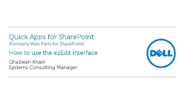 How to use the ezEdit Interface in Quick Apps for SharePoint