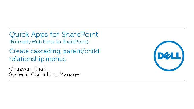 Create cascading, parent/child relationship menus with Quick Apps for SharePoint