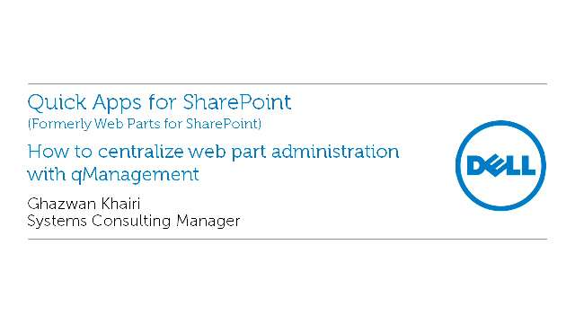 How to centralize web part administration with qManagement in Quick Apps for SharePoint