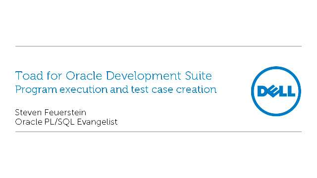 Steven Feuerstein's program execution and test case creation with Code Tester for Oracle