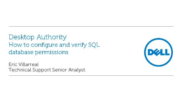 How to configure and verify SQL database permissions in Desktop Authority