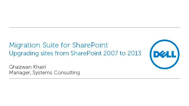 Upgrading sites from SharePoint 2007 to 2013 with Migration Suite for SharePoint