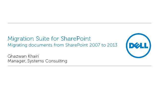 Migrating documents from SharePoint 2007 to 2013 with Migration Suite for SharePoint