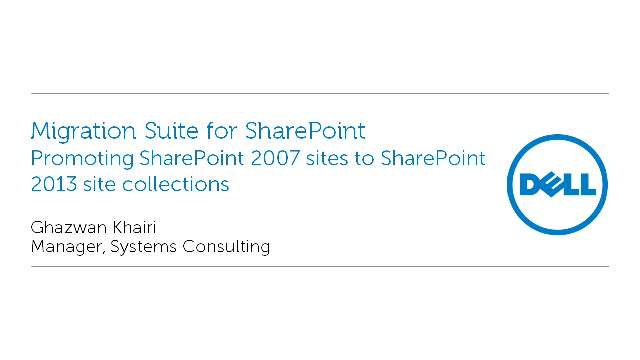 Promoting SharePoint 2007 sites to SharePoint 2013 site collections with Migration Suite for SharePoint