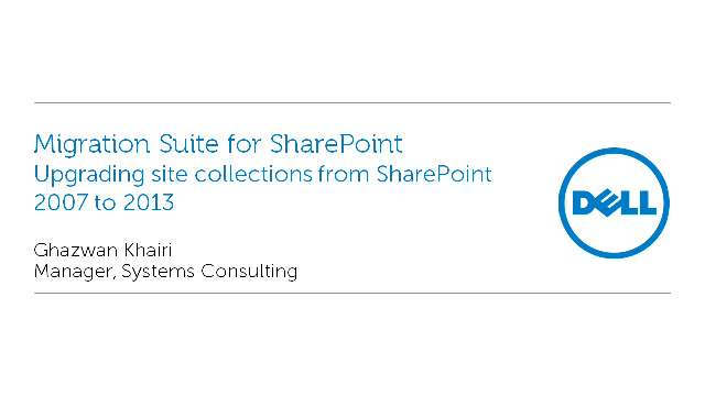 Upgrading site collections from SharePoint 2007 to 2013 with Migration Suite for SharePoint