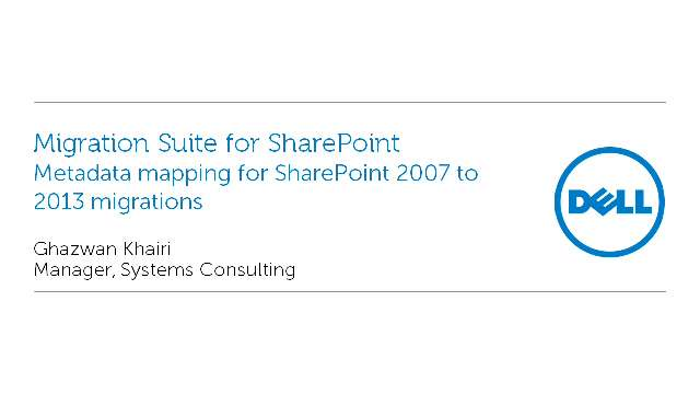 Metadata mapping for SharePoint 2007 to 2013 migrations with Migration Suite for SharePoint