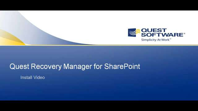 Installing Recovery Manager for SharePoint