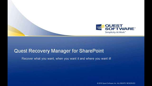 Recovery Manager for SharePoint - Key Competitive Advantages