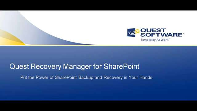 Recovery Manager for SharePoint - SharePoint Backup and Full Farm Restore