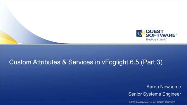 vFoglight - Custom Services Reports And Dashboards