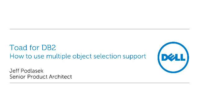 How to use multiple object selection support in Toad for DB2