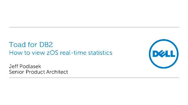 How to view DB2 zOS real-time statistics in Toad for DB2