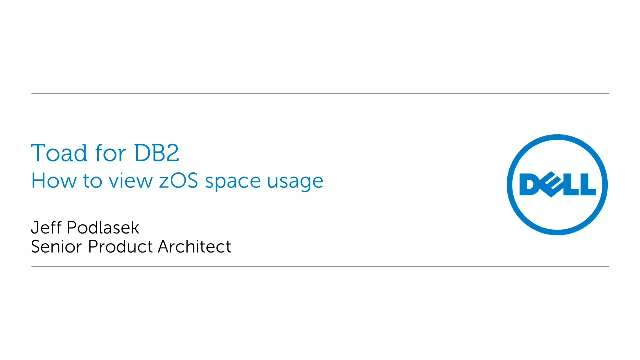 How to view zOS space usage with Toad for DB2