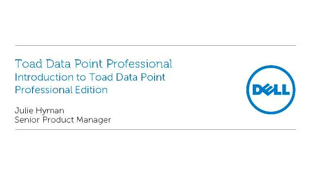 Introduction to Toad Data Point Professional Edition