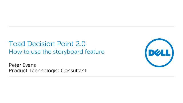 How to create storyboards in Toad Decision Point 2.0