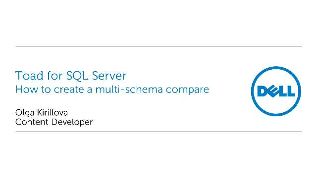 How to create multi-schema compare in Toad for SQL Server