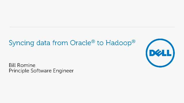 Synchronize data from Oracle to Hadoop