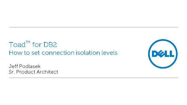How to set connection isolation levels in Toad for DB2