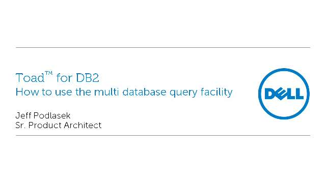 How to use the multi database query facility in Toad for DB2