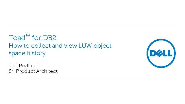 How to collect and view LUW object space history in Toad for DB2