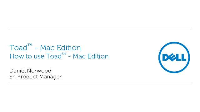 How to use Toad - Mac Edition